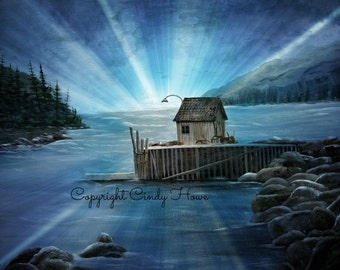 Set of 3 Greeting cards, Maine boat house, blank inside, rocky seashore, cards, greeting cards, boat dock