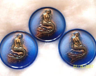 Czech  Glass Exclusive  Buttons  3 pcs    MERMAID  24K GOLD  41mm     EX 016