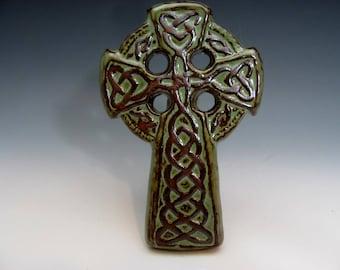 Celtic Knot Cross Green Irish Gaelic Christian Stoneware Knotwork St. Patrick's Day Shamrocks Christian