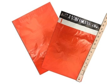 "10"" x 13"" Orange FLAT POLY Mailers, Adhesive Self Sealing Flat Envelope Mailers, Vibrant Colored Mailer Bags (50 Pack)"