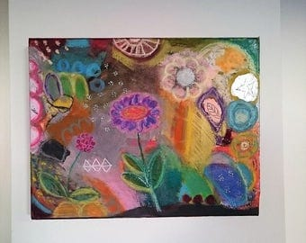 original, abstract, colorful painting on canvas, Garden flowers, happiness, modern art, contemporary art