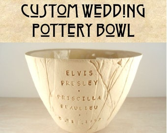 CUSTOM WEDDING POTTERY - Custom Wedding Gift / Custom Anniversary/ Personalized Wedding / Custom Wedding Pottery / Gift for Couple