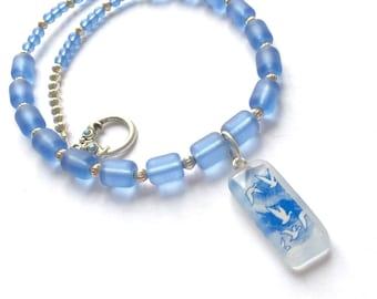 Blue glass necklace - vodka bottle pendant necklace, flying goose pendant, vodka lover jewelry, cornflower blue