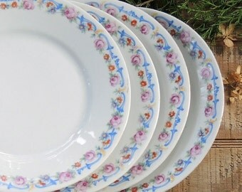 Antique German Salad Plates Set of 4 Dessert Plates, Tea Party, Wedding Plates, Baby Shower