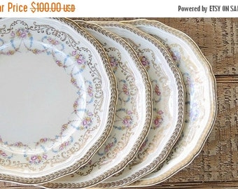 On Sale Antique Rosenthal Majesty Bread & Butter Plates Set of 4 Chippendale Plates, Romantic Cottage Style, Ca. 1940's