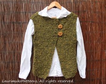 KNITTING PATTERN - Dark forest sleeveless jacket wrap cardigan - Pdf listing 71