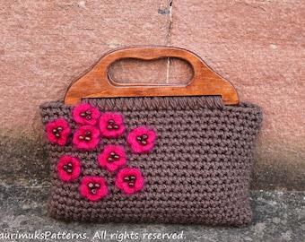 Crochet pattern, flower bag purse womens patterns - Listing87