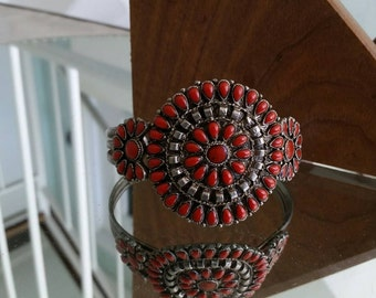 Retro XL Men's Red and Silver tone Cuff  Bracelet - Adjustable / Vintage Native American Design