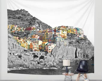 Wall Hanging Tapestry - Coloring Cinque Terre: Manarola, Italy [Adventure Rainbow Cliffs Sea Ocean Fishing Boats Architecture Wanderlust]