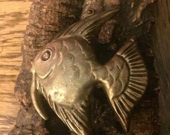 Brass Fish on Wood Base - Wall Decor