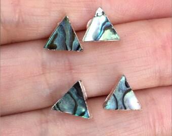 Abalone stud earrings, Triangle earrings