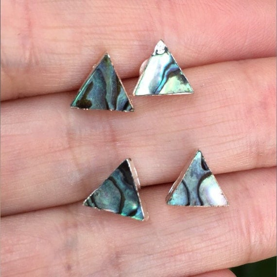 Abalone stud earrings, Triangle earrings