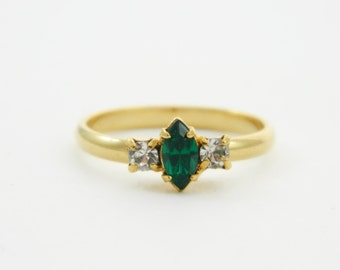 Marquise Emerald and White Topaz Ring