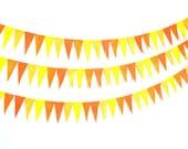 SALE Bunting Yellow Orange Harvest Gold Fall Pendant Garland Felt Eco-Friendly 6ft Children Room Birthday Party Wedding
