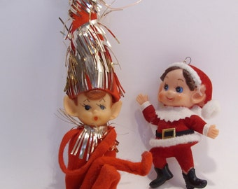 Pixie Elf and Santa Elf Mid Century Retro Vintage Christmas Ornaments