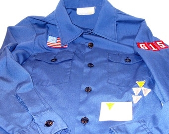 Boy Scout Cub Scout Official Blue Uniform Shirt Size 12 USA Flag Pack # 615 Three Silver Two Gold Arrows