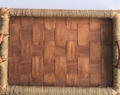 Vintage Wood Rattan Tray, twine wrapped wood tray 20 inches, farmhouse table centerpiece, patio tray natural elements home decor