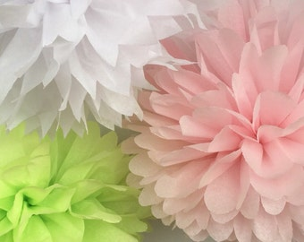 6 Large Tissue Paper Pom Poms-- ChooseYour Colors-- Wedding/ Nursery/ Baby Shower/ Graduation Decorations