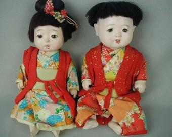 Vintage Dolls, 2 Vintage Dolls, Brother and Sister Japanese Dolls, Original Clothes, Collector's Dolls