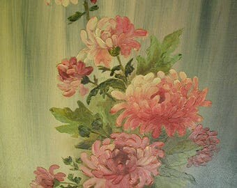 "Vintage Original Naive Oil Painting, Original Oil Painting, Pink Chrysanthemums in Vase,  12 x 16"",  Shabby Cottage"