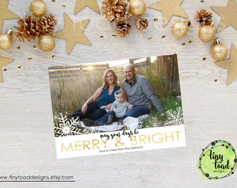 May Your Days Be Merry & Bright Snowflake, Gold, Holiday Cards, Christmas Cards, DIY Printable, digital file (item 1530)