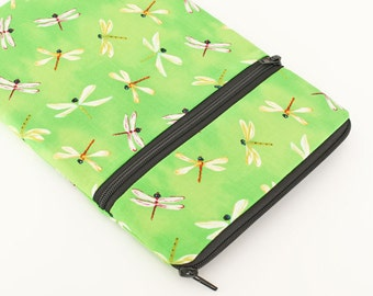 """Galaxy Tab S2 Case, Kindle Fire HDX Cover, iPad Pro 9.7"""" Zipper Pocket, iPad Air 2 Case, Surface Book Sleeve - white dragonflies in green"""
