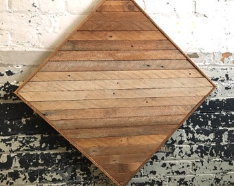 "Reclaimed Wood Wall Art 23""x 23"", Light Natural Wood Ombre"