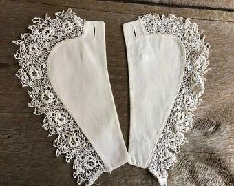 Antique Irish Crochet Collar, Fine White Linen Cotton Lace Collar, Dress Embellishment