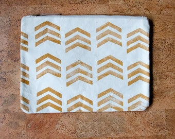 Mustard Chevron Block-Printed Canvas Zippered Clutch