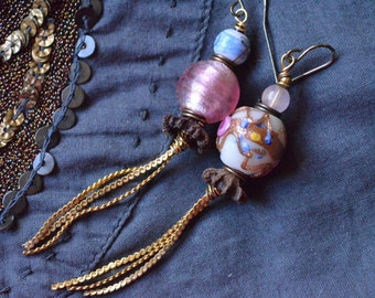 Kindred Spirits. Pink Boho, rustic, Art earrings, asymmetrical. Vintage wedding lampwork glass, organic bead caps, goldtone chain.