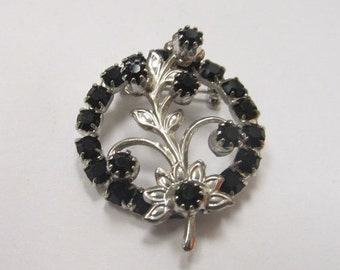 On Sale Vintage Prong Set Black Rhinestone Floral Pin Item K # 2875