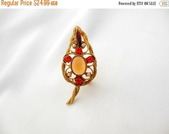 Store Closing Sale Vintage Brooch with Amber Moonstone Cabochon Seed Pearls in Julianna Style