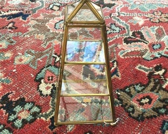 Vintage Brass and Glass Pyramid Shaped Box - Brass and Glass Display Box