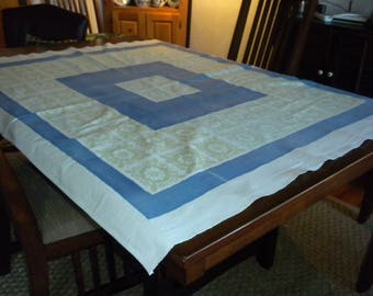 Vintage heavy 50s tablecloth 58 x 49 blue green classic design faded to perfection