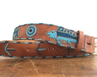 Vintage beaded belt, Southwestern, tribal, festival, hippy, leather belt