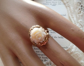Carved Natural White Coral Rose In 14k Rose Gold Ring Filigree Design