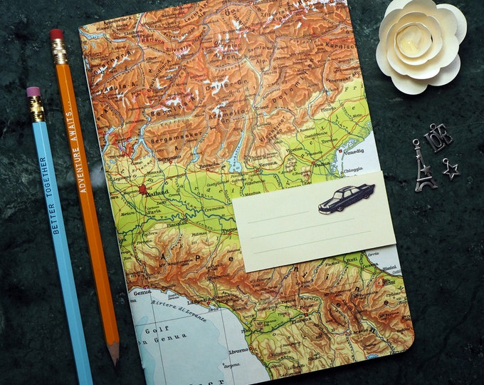 TRAVEL JOURNAL the Alps, Italy, Venice, Milano, Geneve, 7x8,2inch, 40p. RULED travel journal, diary, notebook, map, vintage, upcycling