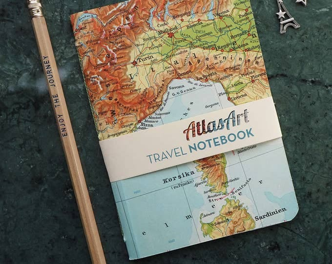 NOTEBOOK SMALL, Italy, France, Nice, Corsica, 32p. plain/ruled, travel journal, diary, notebook, atlas, map, vintage, upcycling