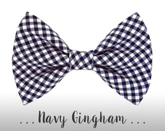 Navy Blue Gingham Dog Bow Tie; Plaid Dog Collar BowTie: Navy Gingham