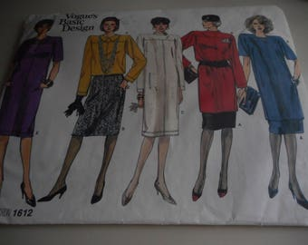 Vintage 1980's Vogue 1612 Basic Design Dress, Tunic, Top and Skirt Sewing Pattern, Size 14-16-18