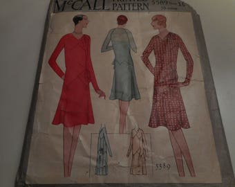 Vintage 1920's, 30's McCall 5589 Flapper ERa Dress Sewing Pattern, Size 16 Bust 34