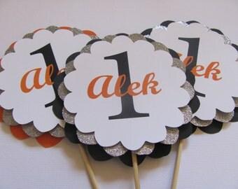 Black, Orange and Silver Centerpiece Sticks ,  Personalized centerpiece, Birthday centerpiece, OR Vase Decor Set of 3