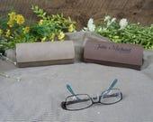 Eye Glass Case Laser Engraved Personalized Custom Leatherette Eyeglass Sunglasses Case Monogram, Block, Script lettering One sided