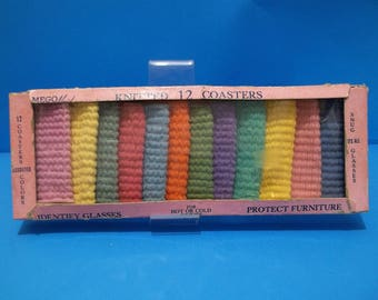 Vintage Mego Maid Mid Century Knitted 12 Colorful Fabric Coasters Original box