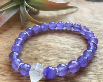 Master Healer Bracelet, Purple Jade, Quartz Point, Sterling Silver, Intrinsic Journeys Jewelry