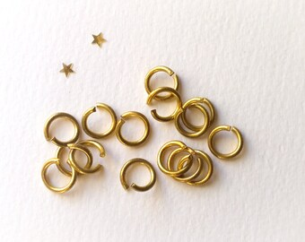 Vintage Large Solid Brass Jump Rings 12mm, 60 pcs, Old New Stock