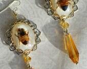 Vintage Honey Bee Lucite Encased Art Deco Honey Drop Faceted Glass Statement Earrings