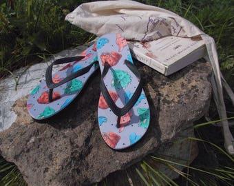 NEW* Dino Flip Flops - Dinosaur - Shoes - Footwear - Summer - Kitsch - T-Rex