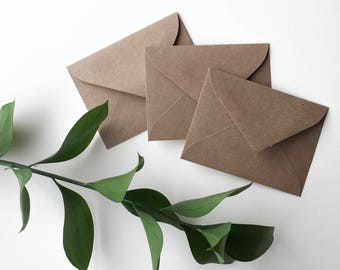 Mini Kraft Envelopes - set of 25 envelopes - mini envelopes measuring 2 11/16 x 3 11/16 inches #17 - kraft paper envelopes