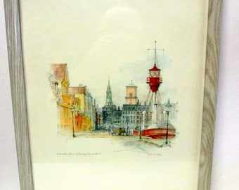 Framed Watercolor by Danish Artist Mads Stage